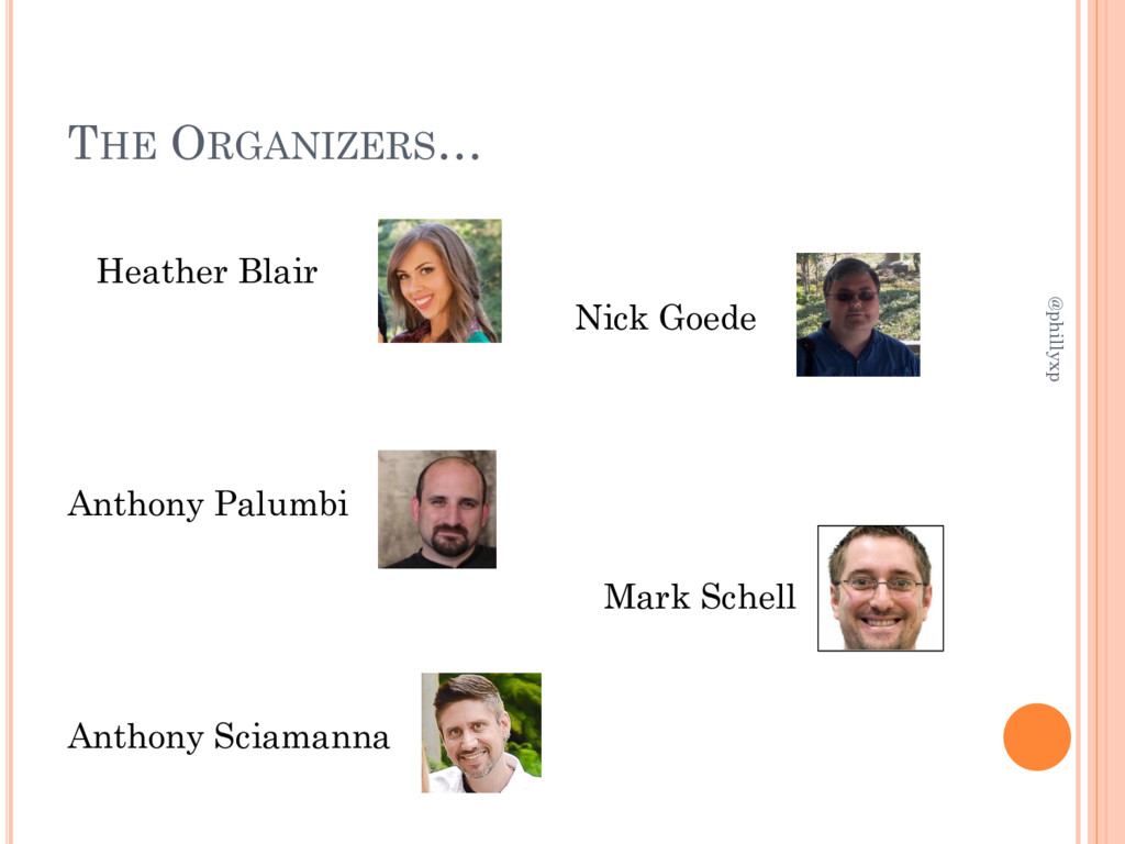 THE ORGANIZERS… Heather Blair Nick Goede Anthon...