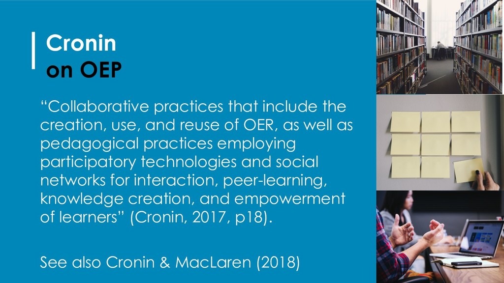 """Cronin on OEP """"Collaborative practices that inc..."""
