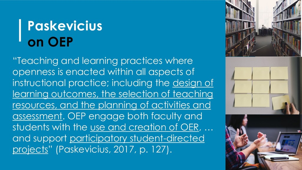 """Paskevicius on OEP """"Teaching and learning pract..."""