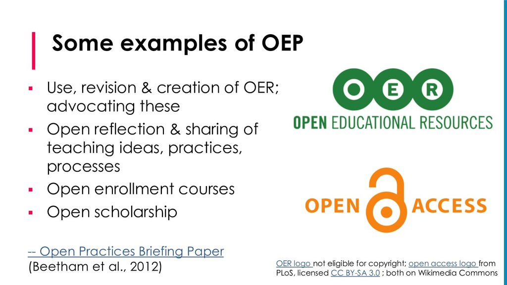 Some examples of OEP § Use, revision & creation...