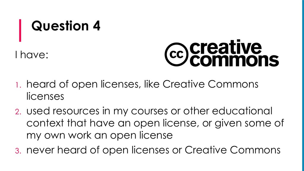 Question 4 I have: 1. heard of open licenses, l...