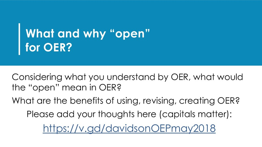 """What and why """"open"""" for OER? Considering what y..."""