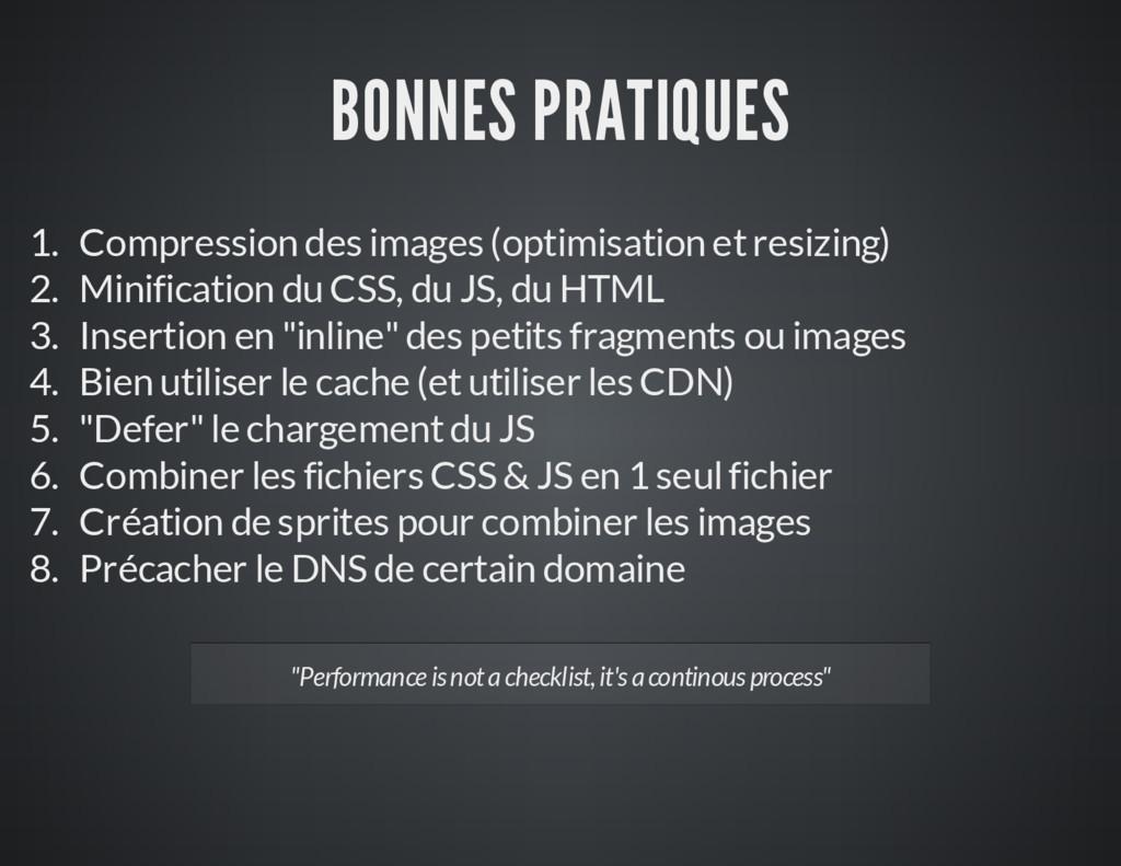 BONNES PRATIQUES 1. Compression des images (opt...