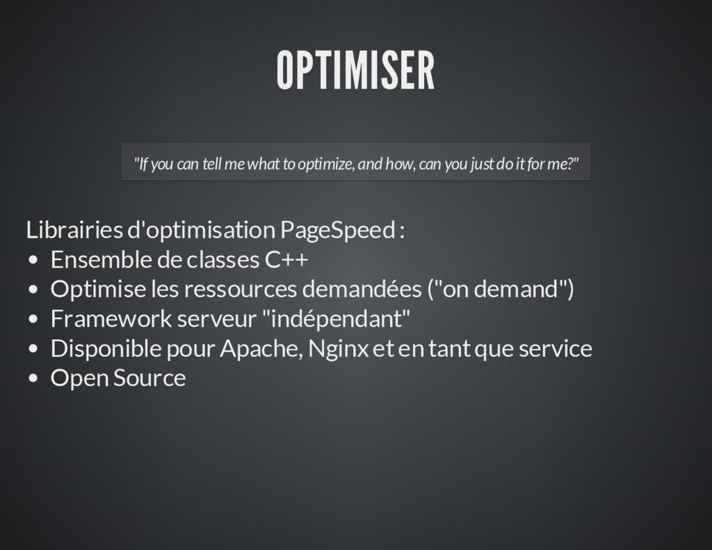 OPTIMISER Librairies d'optimisation PageSpeed :...
