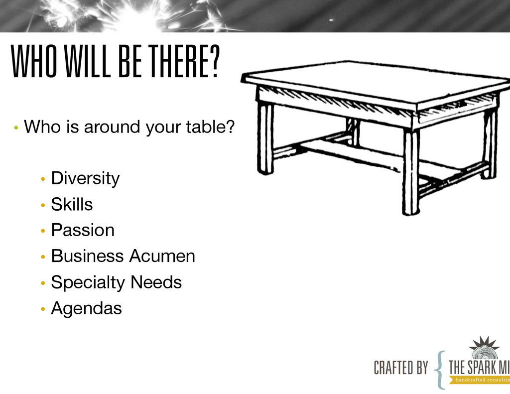 WHO WILL BE THERE? • Who is around your table?...