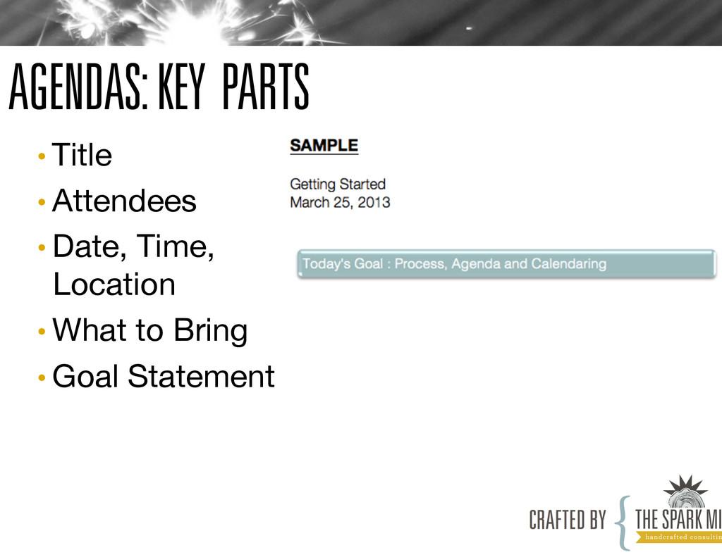 AGENDAS: KEY PARTS •Title •Attendees •Date...