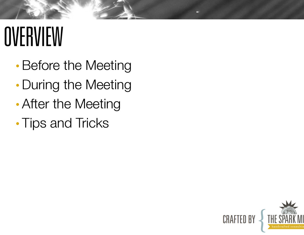 OVERVIEW •Before the Meeting •During the Mee...