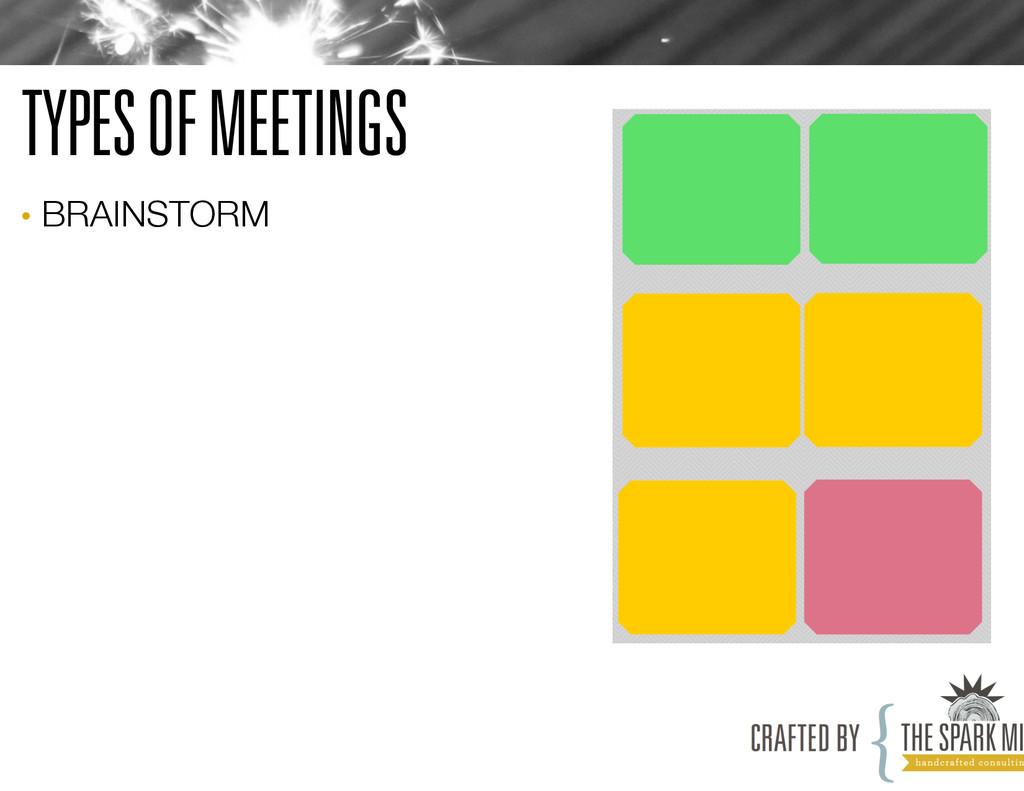 TYPES OF MEETINGS • BRAINSTORM