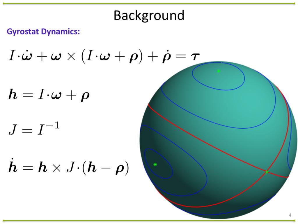 4 Gyrostat Dynamics: J = I 1 ˙ h = h ⇥ J ·(h...