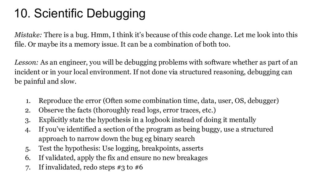 10. Scientific Debugging Mistake: There is a bu...