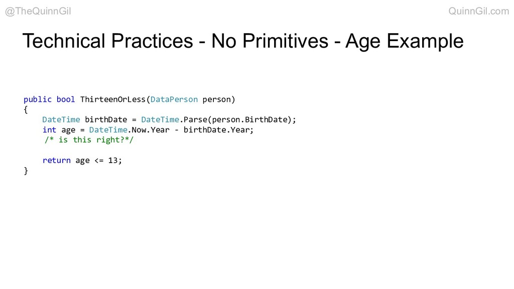Technical Practices - No Primitives - Age Examp...
