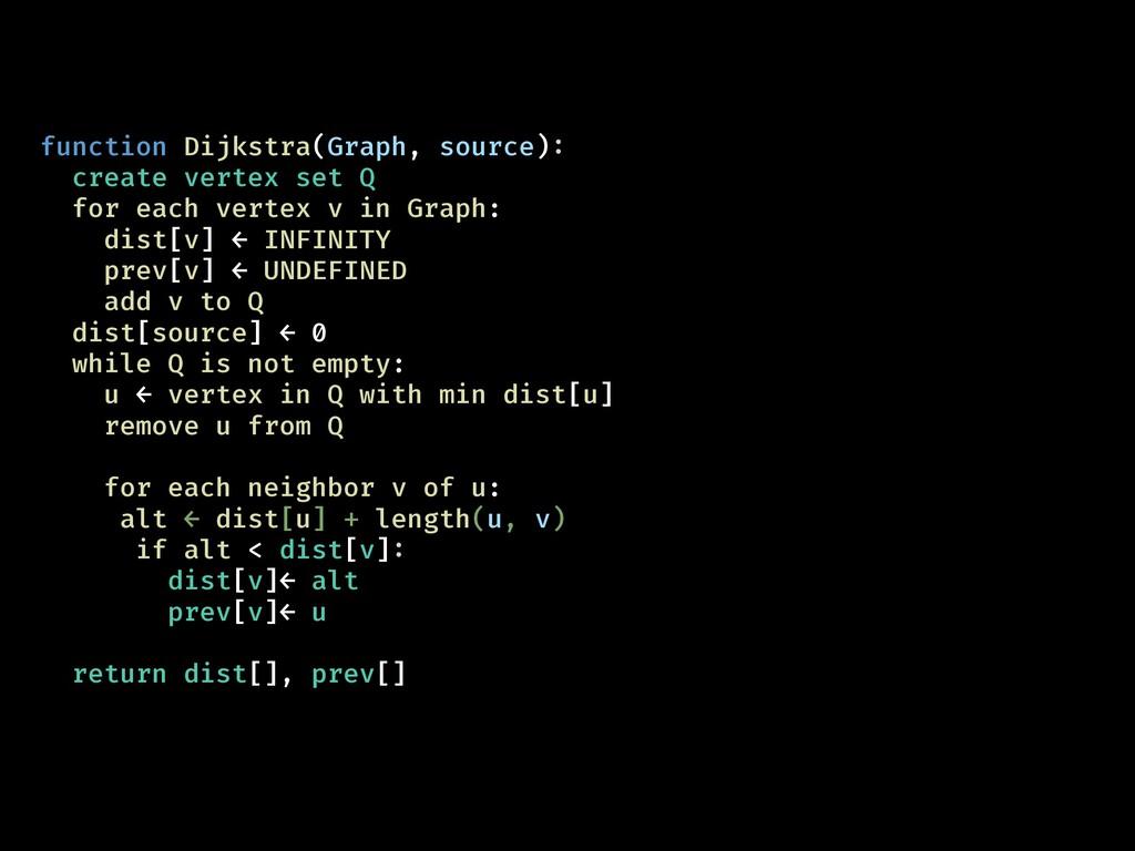 function Dijkstra(Graph, source): create vertex...