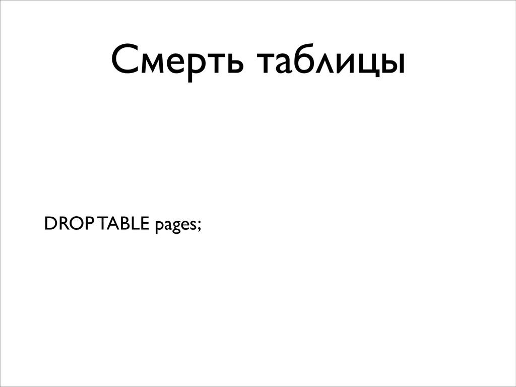 Смерть таблицы DROP TABLE pages;