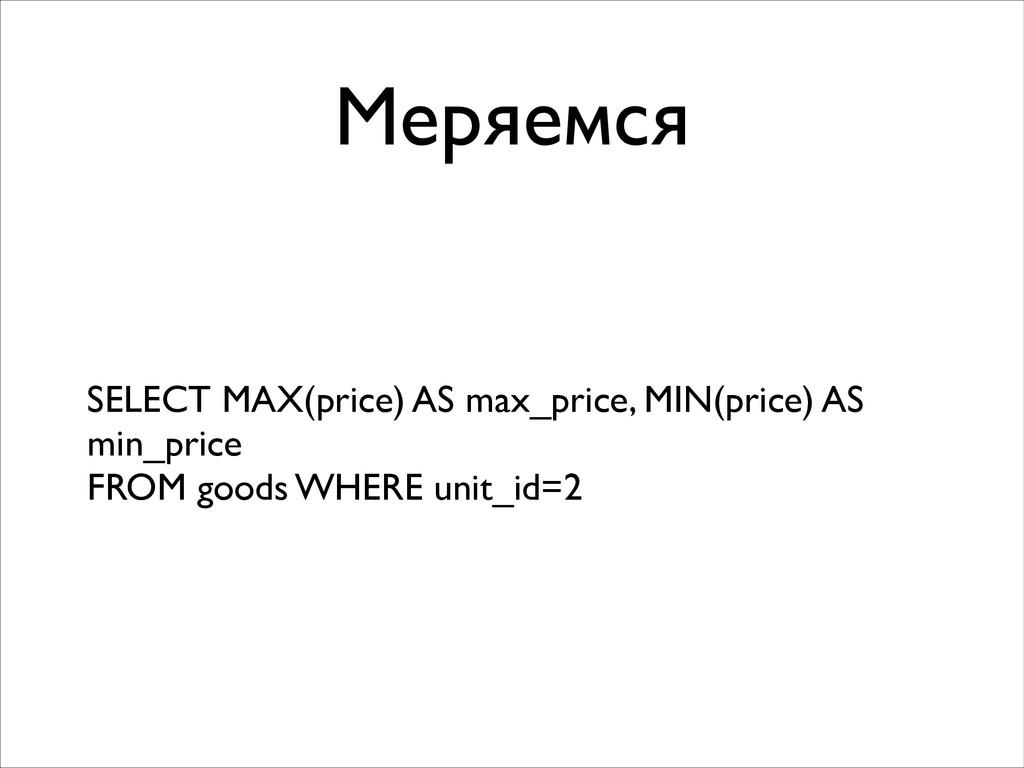 Меряемся SELECT MAX(price) AS max_price, MIN(pr...
