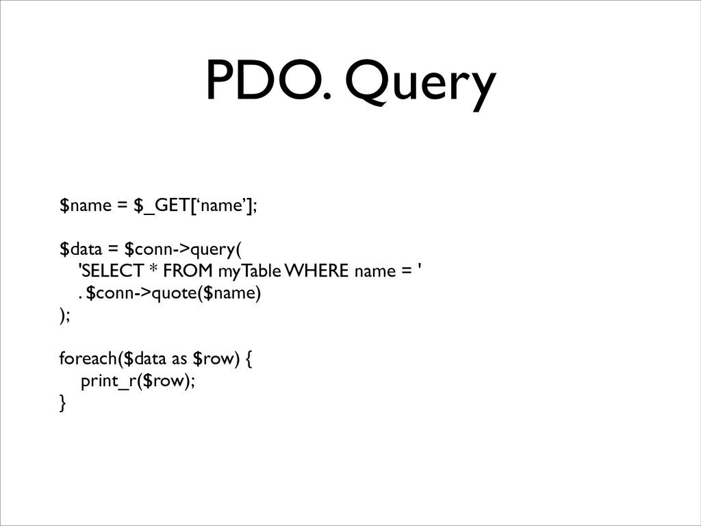PDO. Query $name = $_GET['name'];  ! $data = ...