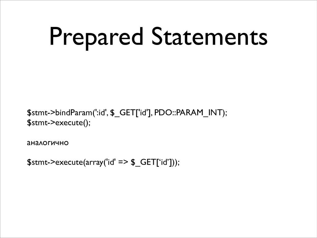 Prepared Statements $stmt->bindParam(':id', $_G...