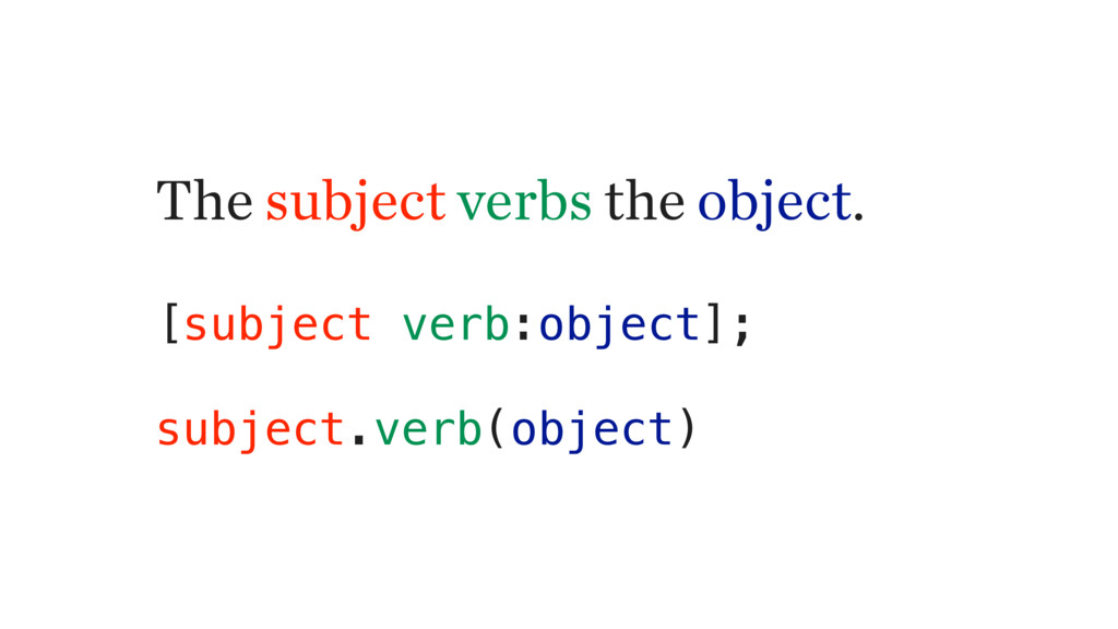 The subject verbs the object. [subject verb:obj...