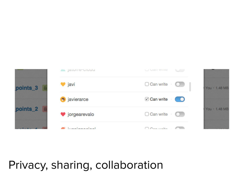 Privacy, sharing, collaboration