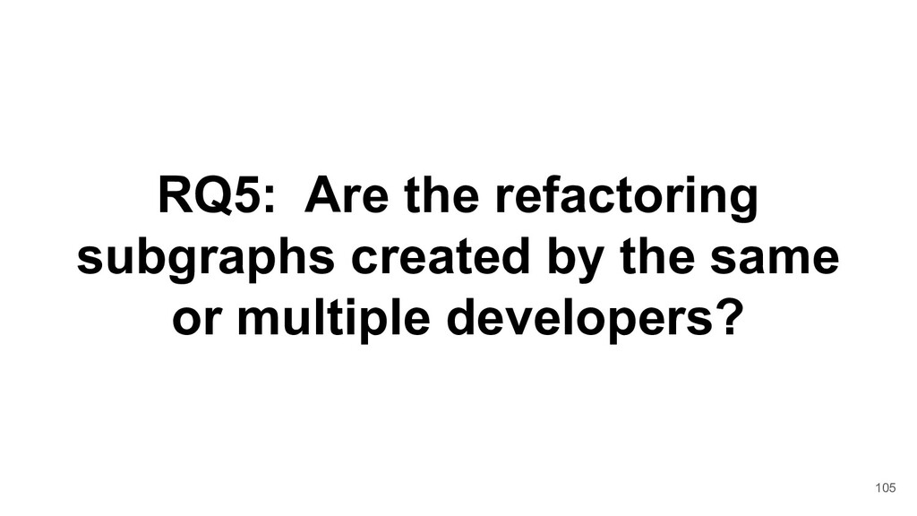 RQ5: Are the refactoring subgraphs created by t...