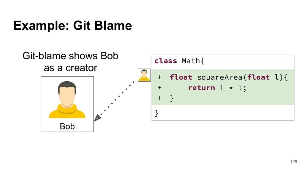 Example: Git Blame Git-blame shows Bob as a cre...