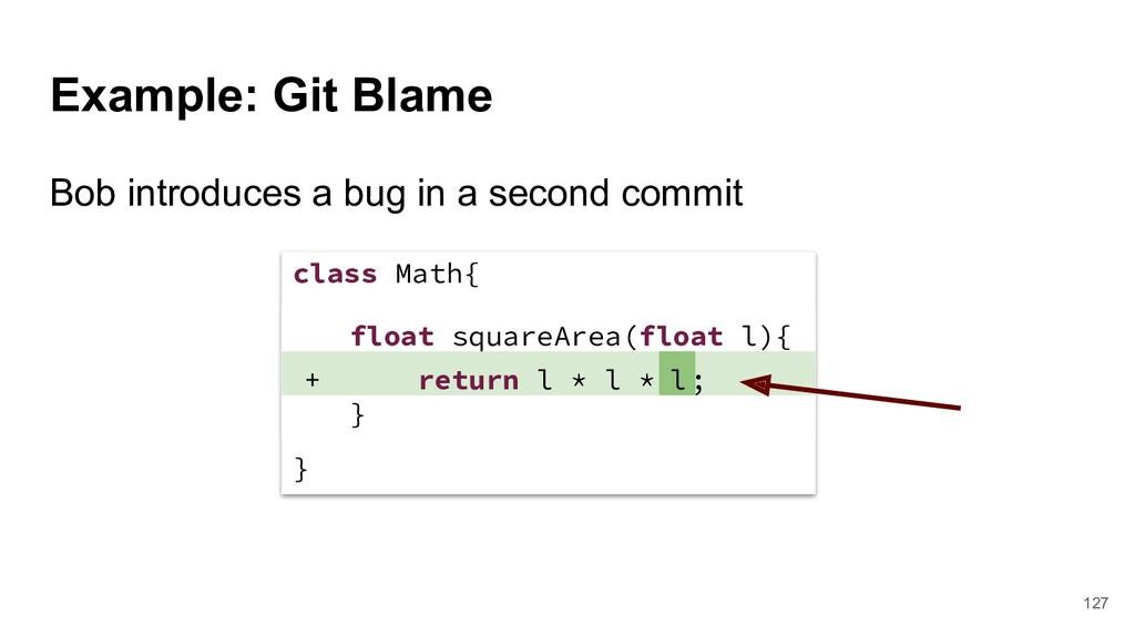 Example: Git Blame class Math{ } float squareAr...