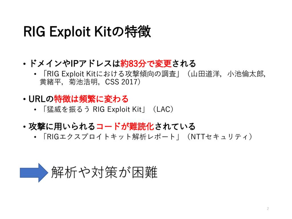 RIG Exploit Kitの特徴 • ドメインやIPアドレスは約83分で変更される • 「...