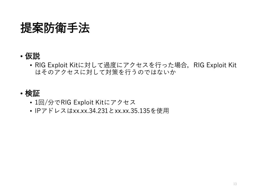 提案防衛手法 • 仮説 • RIG Exploit Kitに対して過度にアクセスを行った場合,...