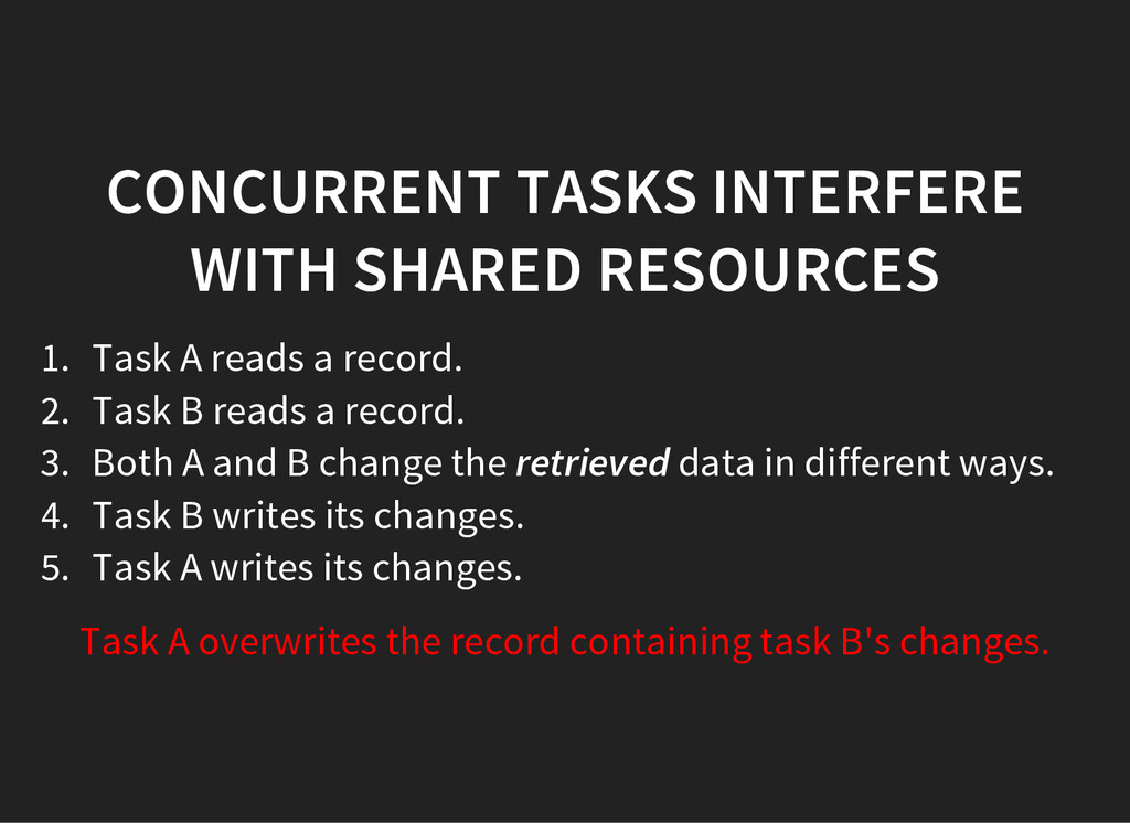 CONCURRENT TASKS INTERFERE WITH SHARED RESOURCE...