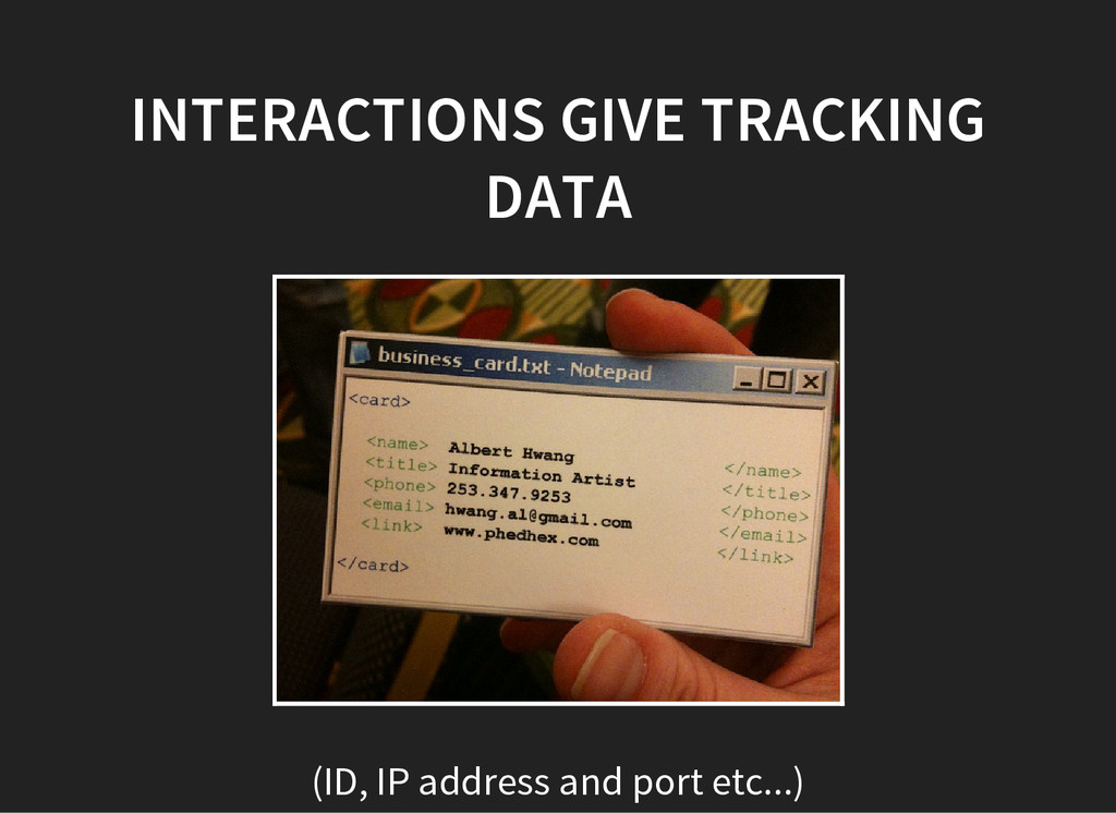 INTERACTIONS GIVE TRACKING DATA (ID, IP address...