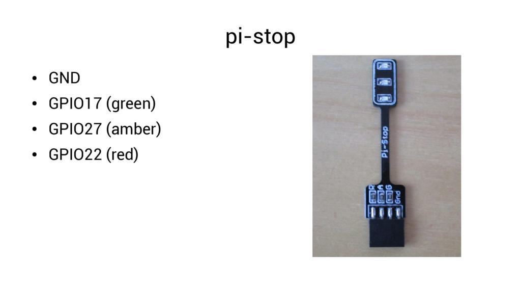 pi-stop ● GND ● GPIO17 (green) ● GPIO27 (amber)...