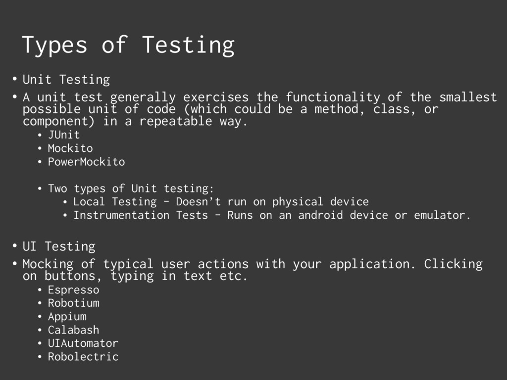 • Unit Testing • A unit test generally exercise...