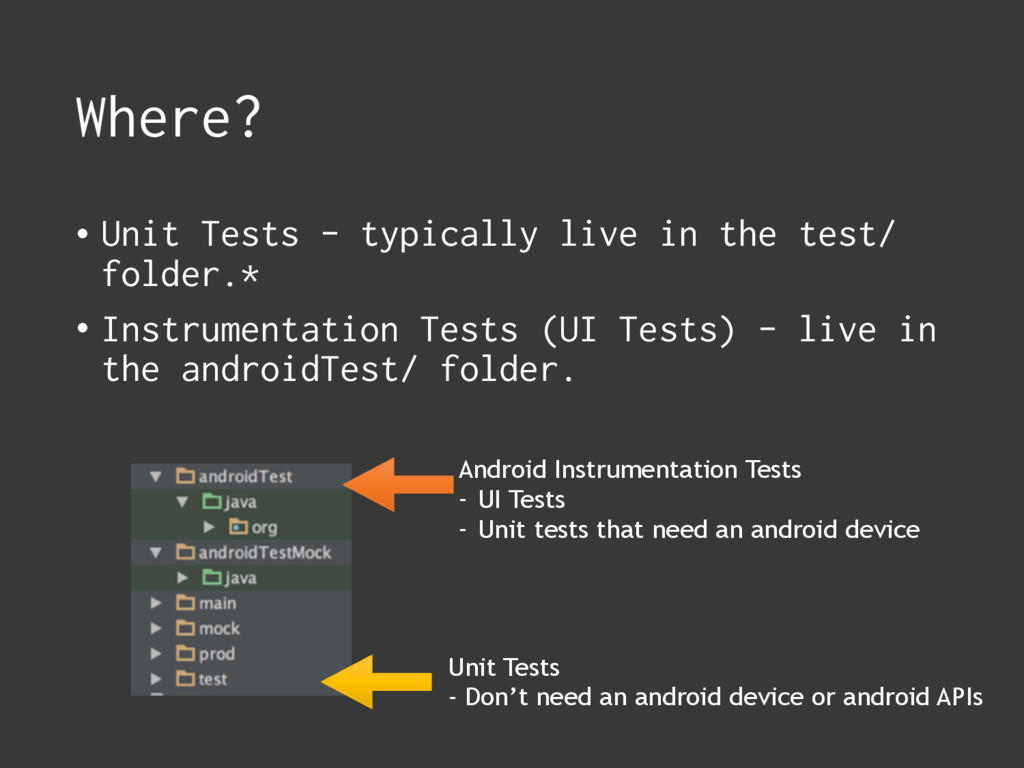 Where? • Unit Tests - typically live in the tes...