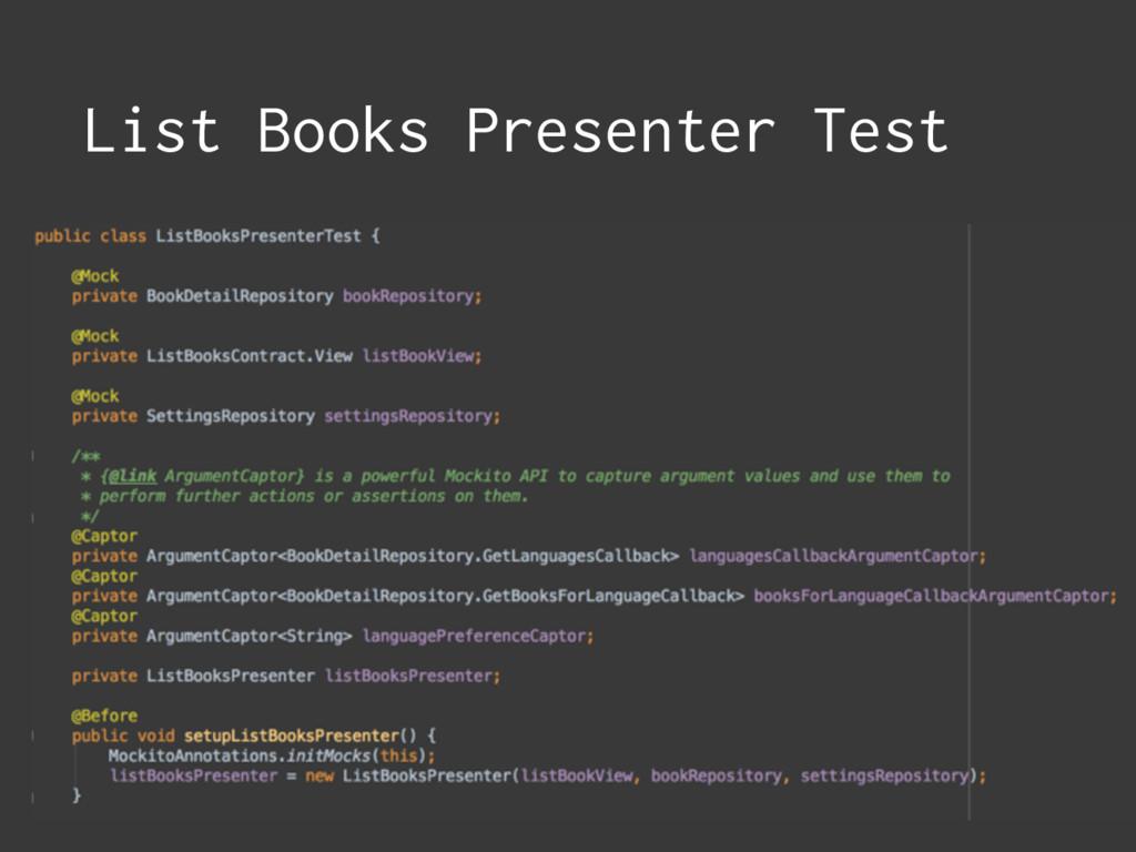 List Books Presenter Test