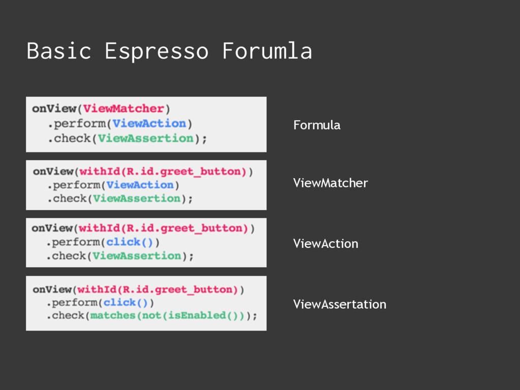 Formula ViewMatcher ViewAction ViewAssertation ...