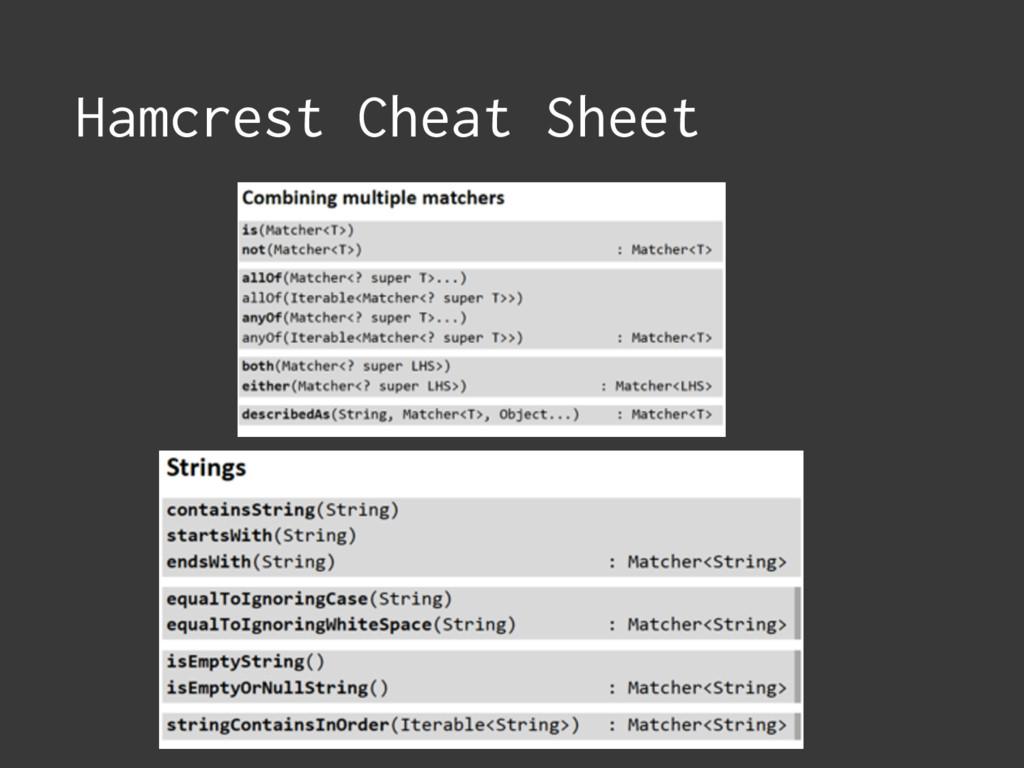 Hamcrest Cheat Sheet