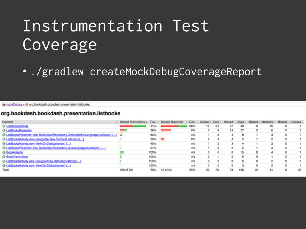 Instrumentation Test Coverage • ./gradlew creat...
