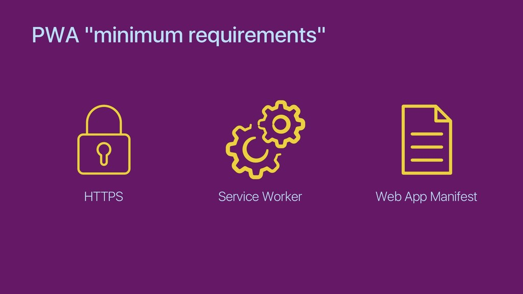 "PWA ""minimum requirements"" HTTPS Service Worker..."