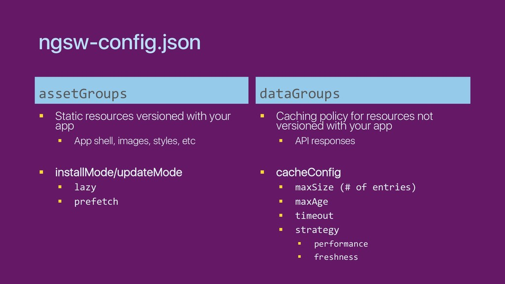 ngsw-config.json assetGroups § Static resources...