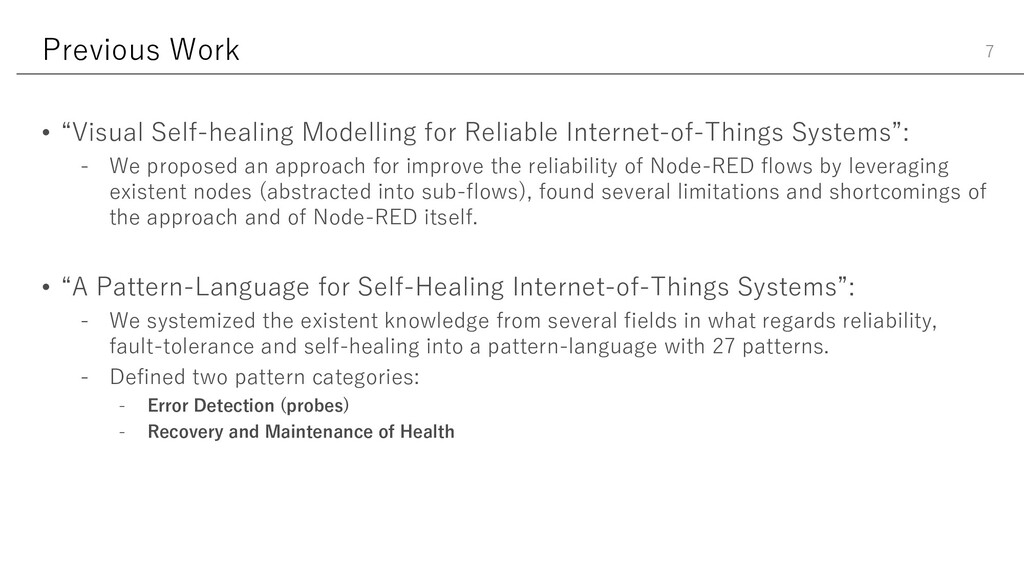 "Previous Work • ""Visual Self-healing Modelling ..."