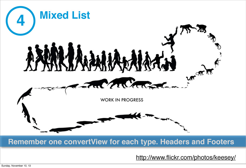 Remember one convertView for each type. Headers...