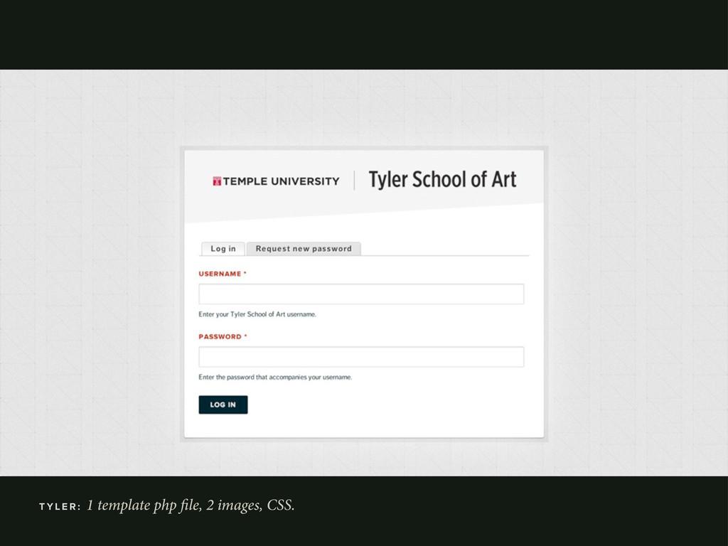 T Y L E R : 1 template php le, 2 images, CSS.