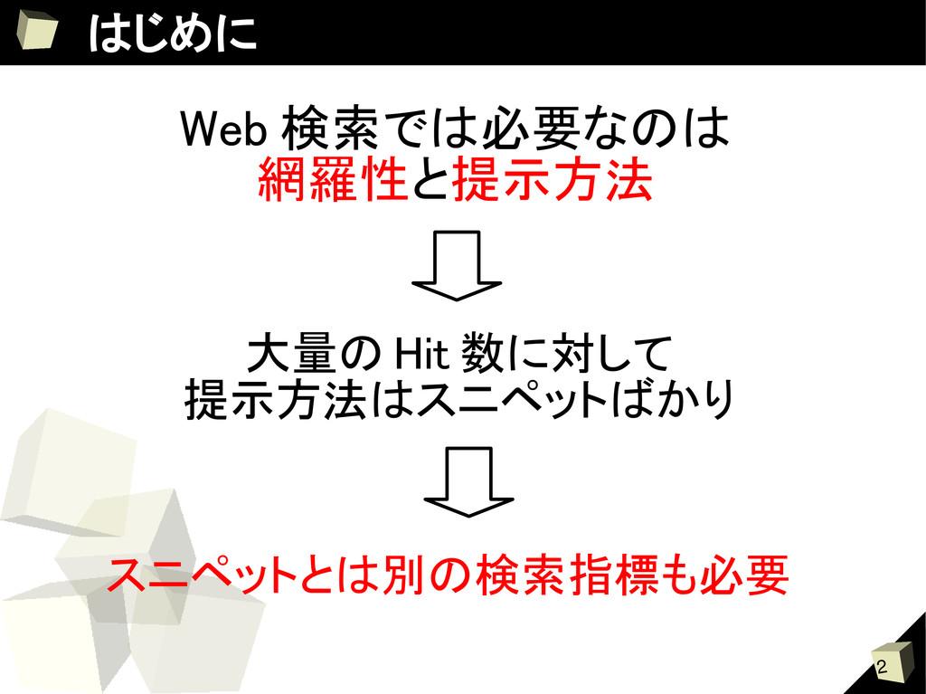 2 はじめに Web 検索では必要なのは 網羅性と提示方法 スニペットとは別の検索指標も必要 ...