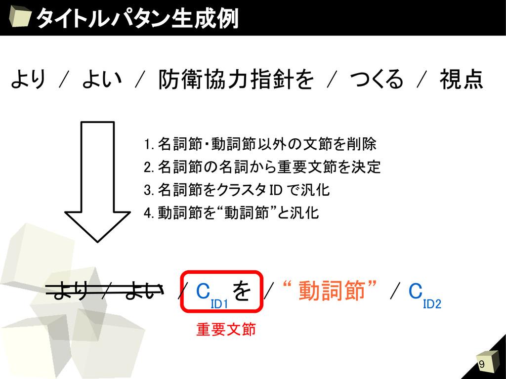 """9 タイトルパタン生成例 重要文節 より / よい / C ID1 を / """" 動詞節"""" / ..."""