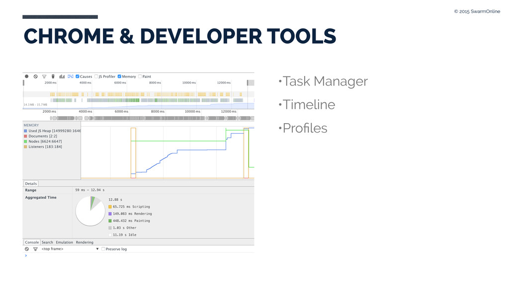CHROME & DEVELOPER TOOLS •Task Manager •Timelin...