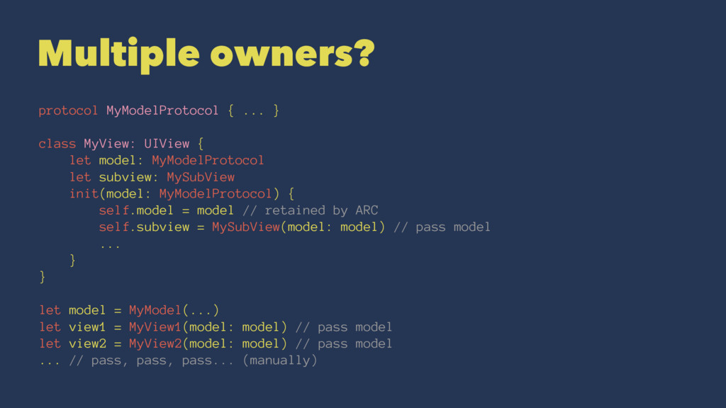 Multiple owners? protocol MyModelProtocol { ......