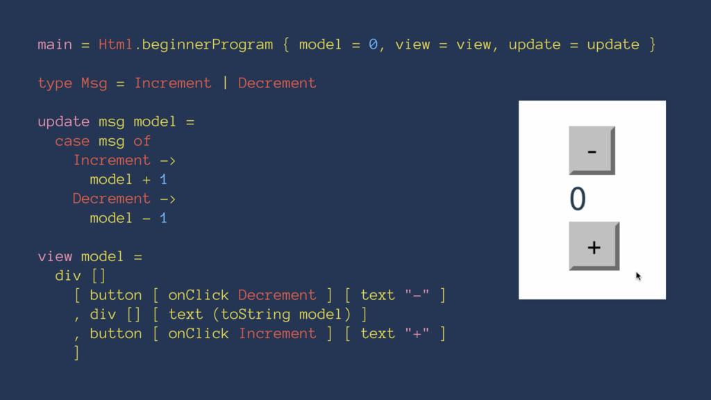 main = Html.beginnerProgram { model = 0, view =...