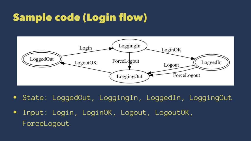 Sample code (Login flow) • State: LoggedOut, Log...