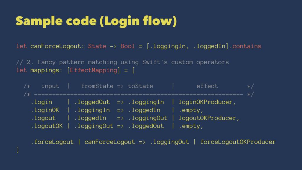 Sample code (Login flow) let canForceLogout: Sta...