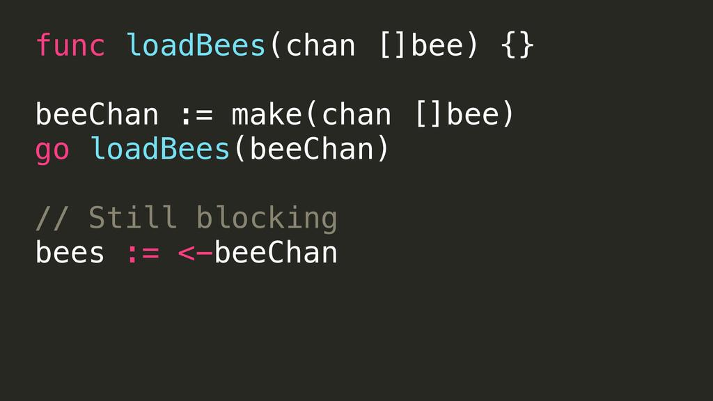func loadBees(chan []bee) {} beeChan := make(ch...